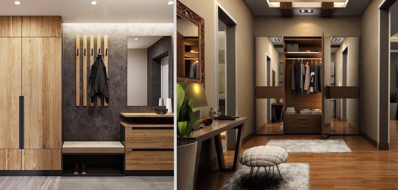 Intérieur élégant et laconique du couloir avec un bel éclairage