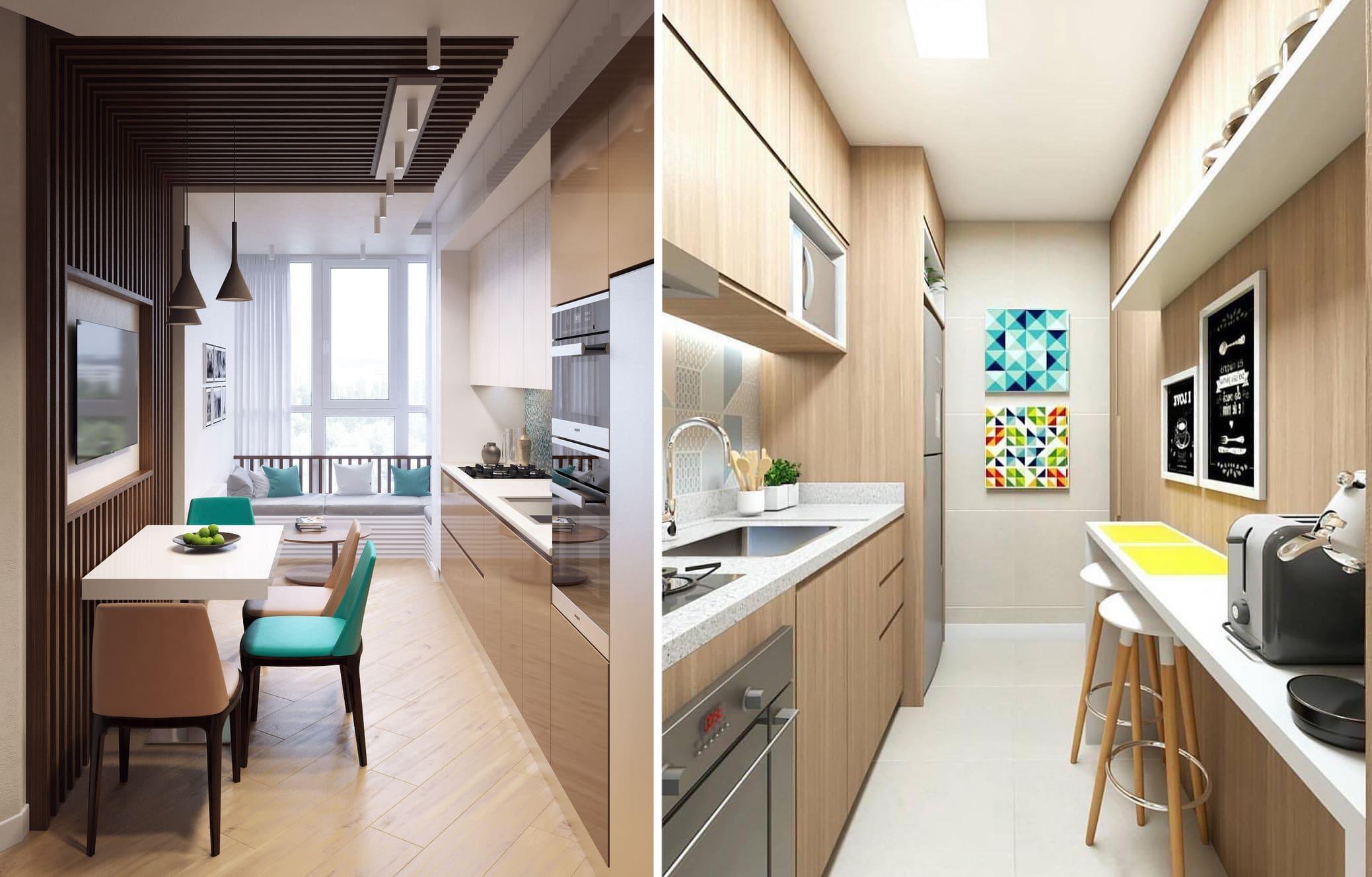 Dans cette photo de deux cuisines, il faut noter l'installation astucieuse de la table à manger et des chaises.