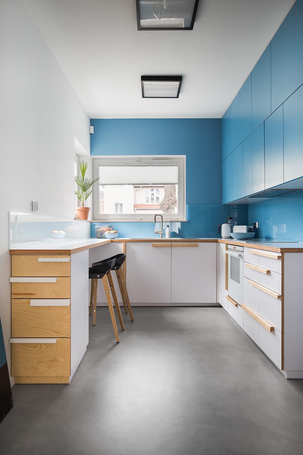 Cuisine étroite moderne blanche et bleue dans le style du minimalisme, où l'accent est mis sur la simplicité et l'expressivité.