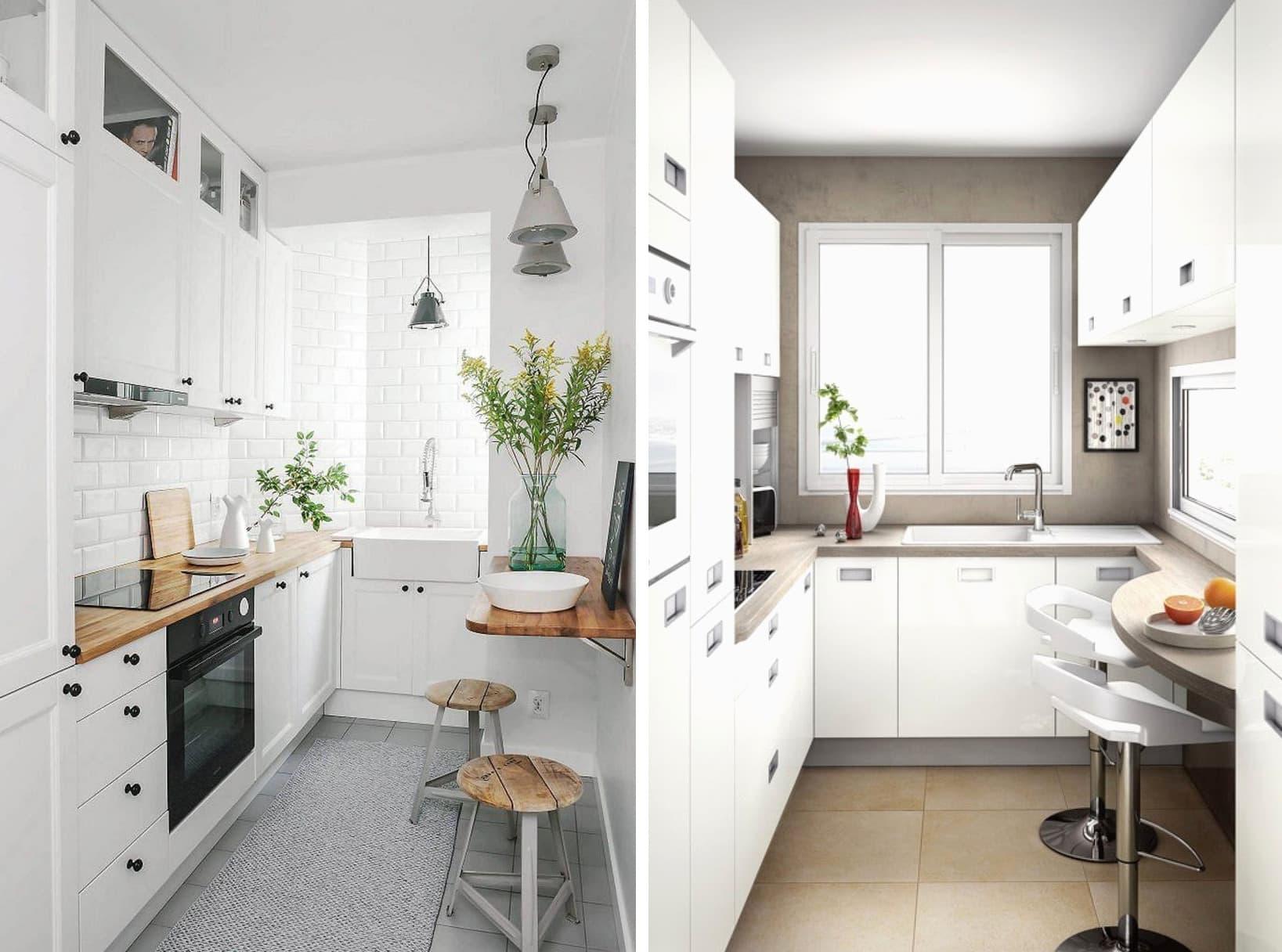 Intérieur de la cuisine en blanc - une façon simple et non compliquée d'éviter la sensation d'un espace trop encombré