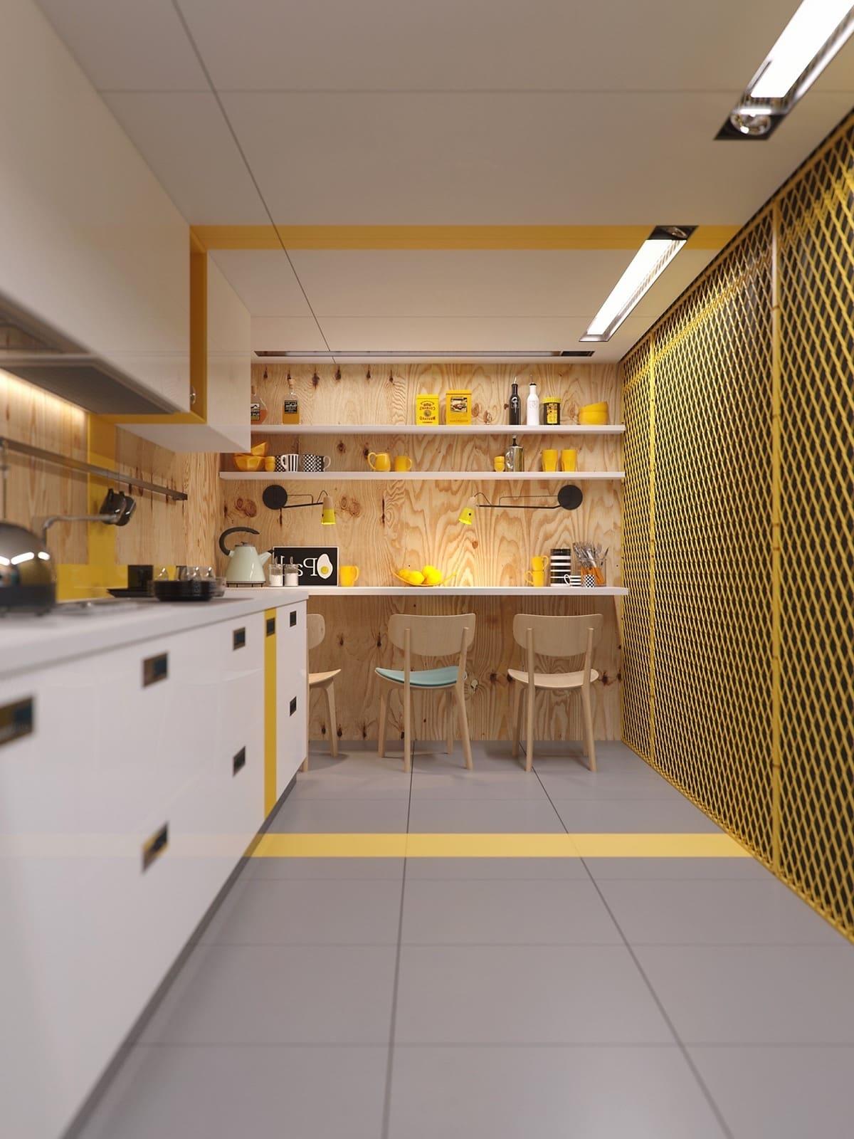 Une conception magnifique, voire parfaite, d'une cuisine étroite avec un éclairage bien organisé de toutes les zones fonctionnelles.