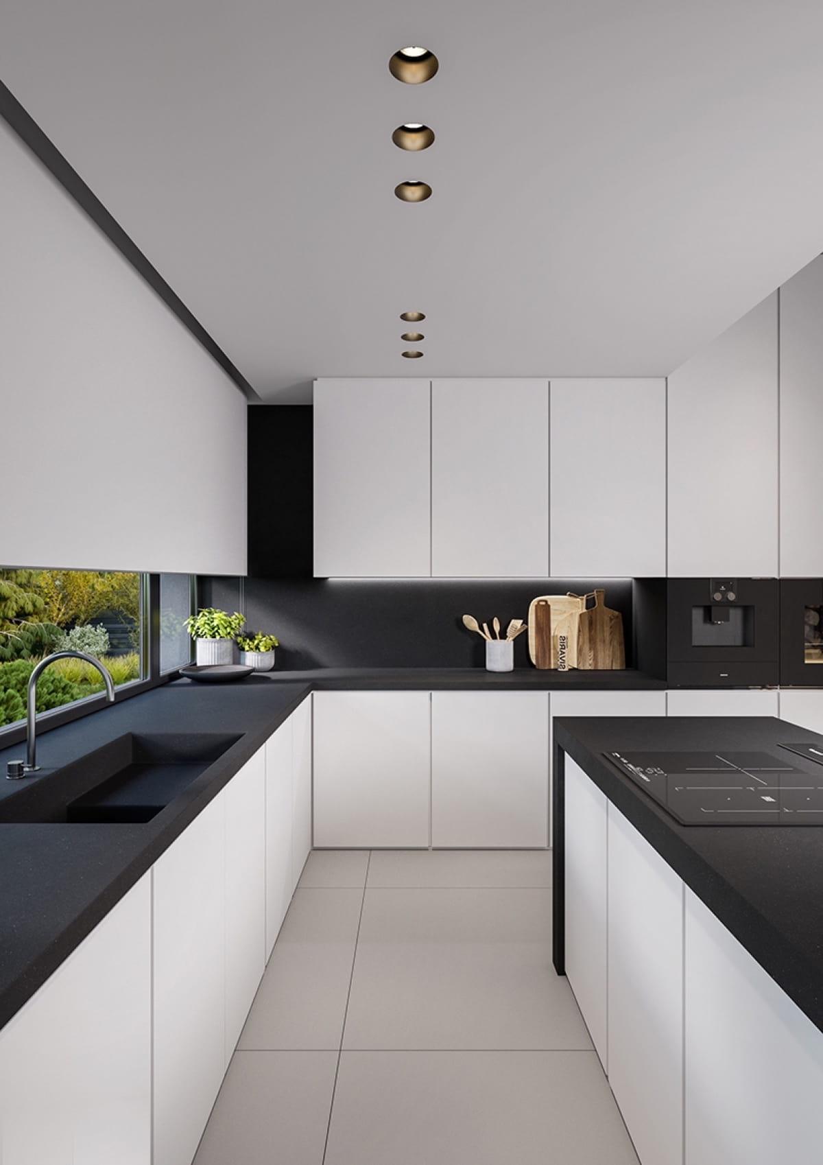 Une sélection réussie de luminaires dans l'aménagement intérieur d'une cuisine étroite