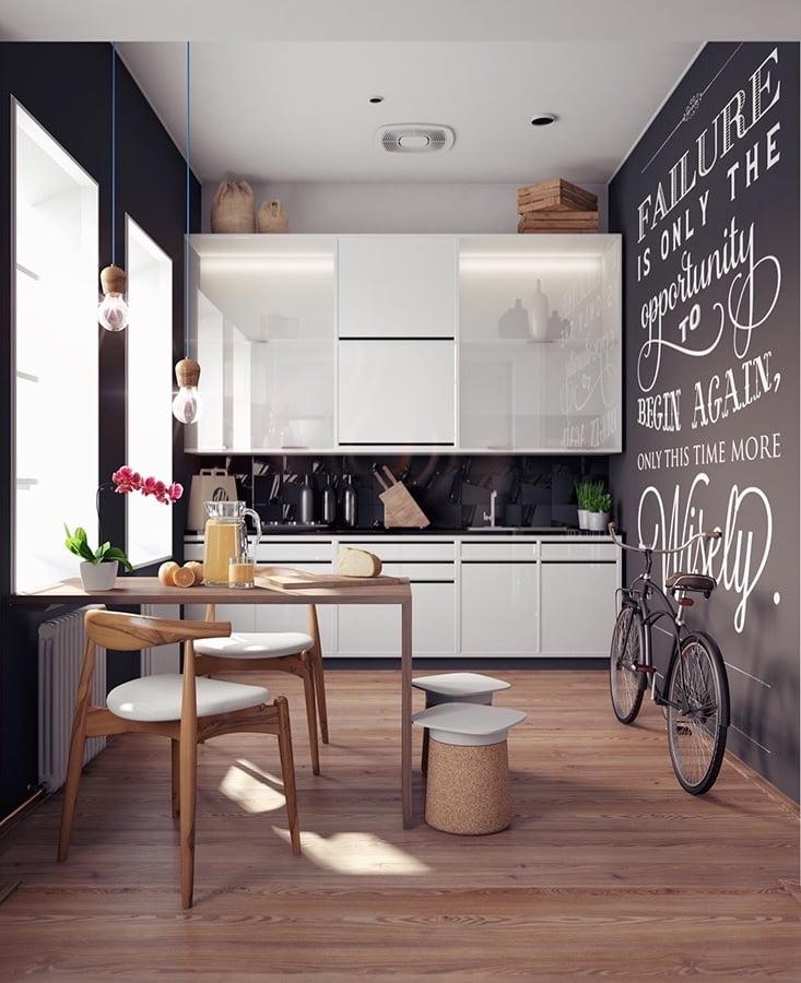 Dans l'intérieur de la cuisine étroite, il n'est pas interdit d'appliquer des couleurs chaudes et juteuses ainsi que du noir.