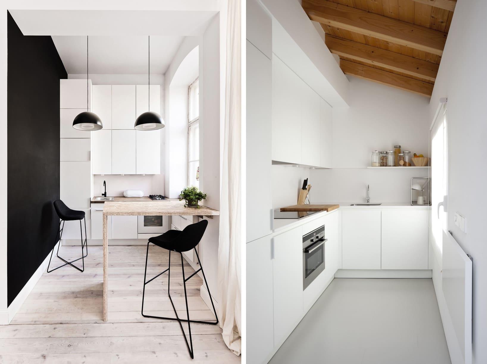 Un comptoir à charnières fixé au mur permet de gagner de l'espace dans une cuisine étroite.