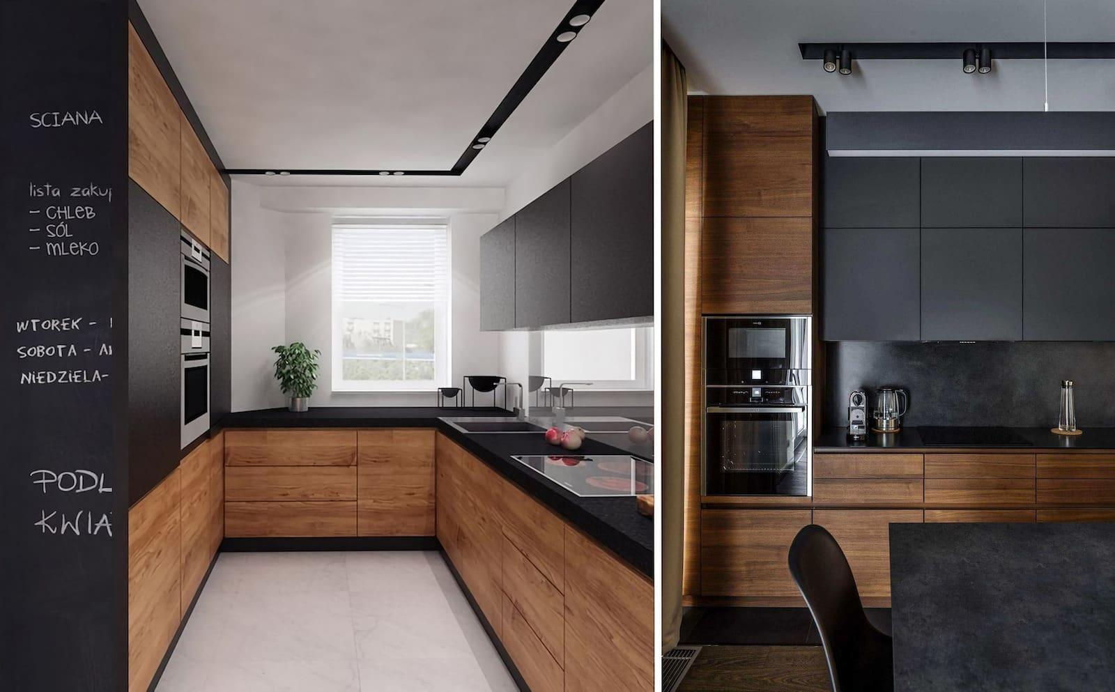 Le noir s'harmonise parfaitement avec la structure en bois mise en valeur.