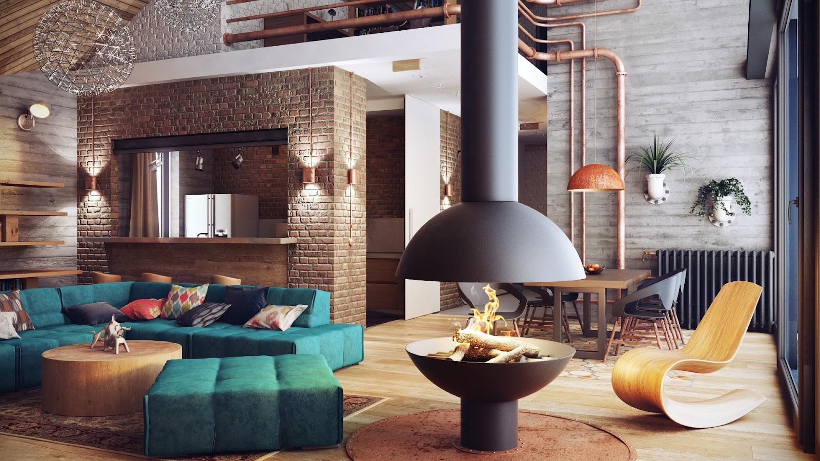Un projet de style loft est parfait pour une maison de campagne, où le week-end vous pourrez vous détendre loin de l'agitation de la ville