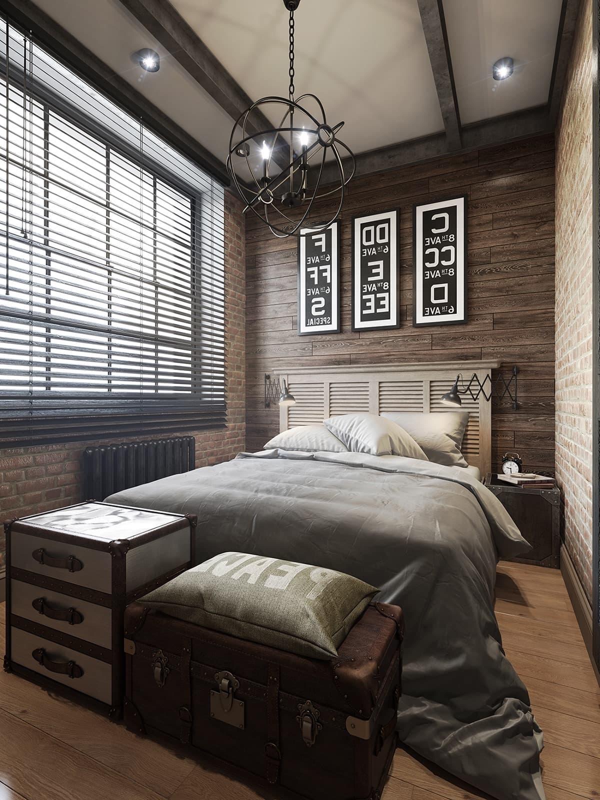 Chambre confortable avec de hauts plafonds