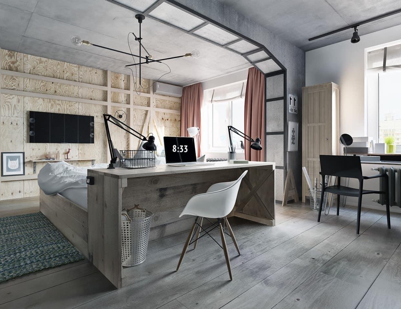 Chambre à coucher moderne avec beaucoup de lumière et d'espace