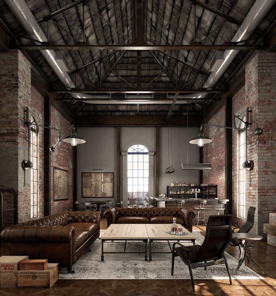 Intérieur loft classique avec de grands et spacieux espaces