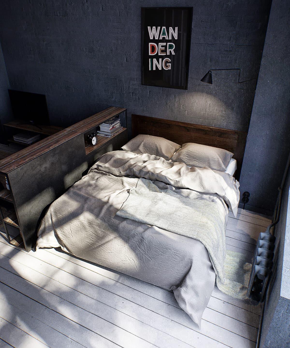 La chambre d'un bleu profond favorise une relaxation profonde