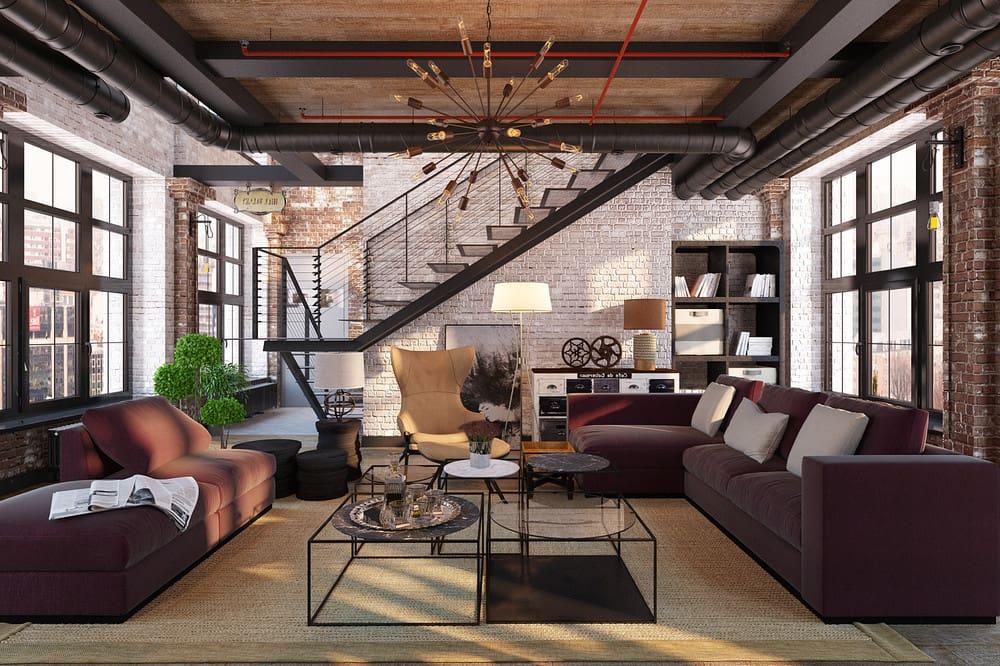 L'intérieur de style loft est très logique, contient des subtilités géographiques, nationales et historiques