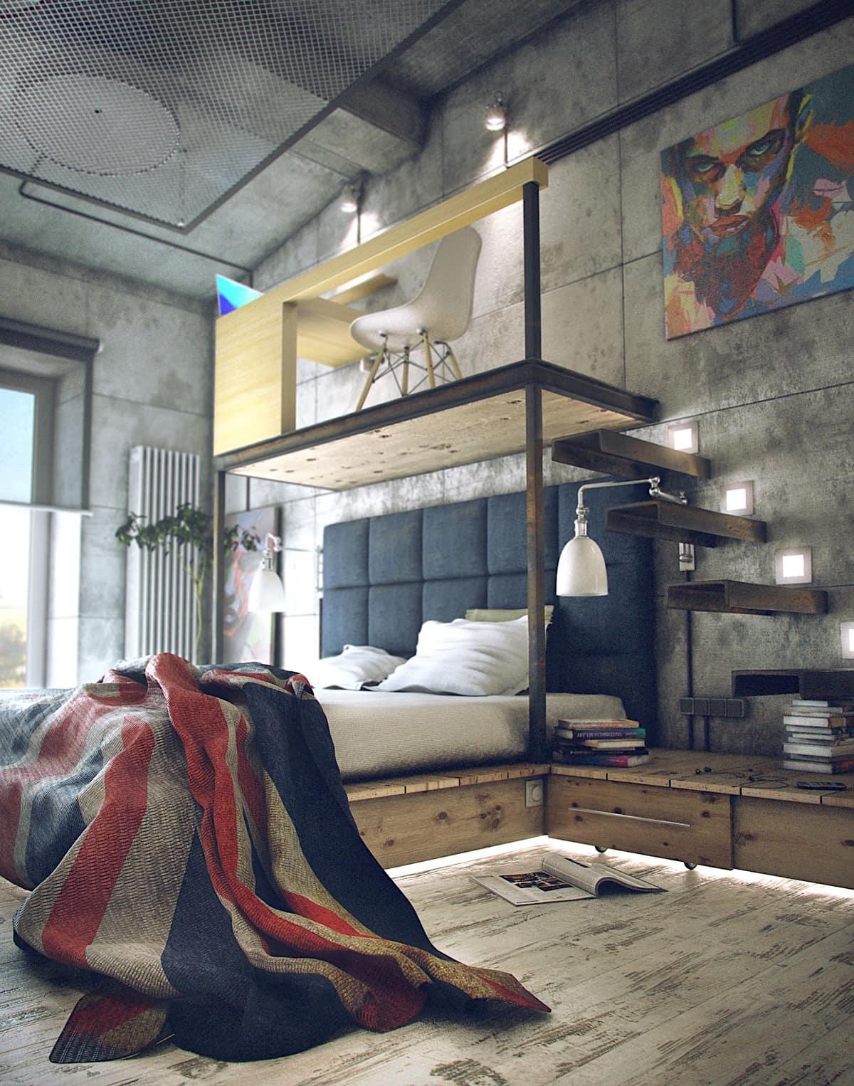 Cette photo montre clairement que l'éclairage de style loft a l'un des rôles les plus importants.