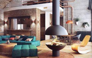 salon avec cheminée style loft