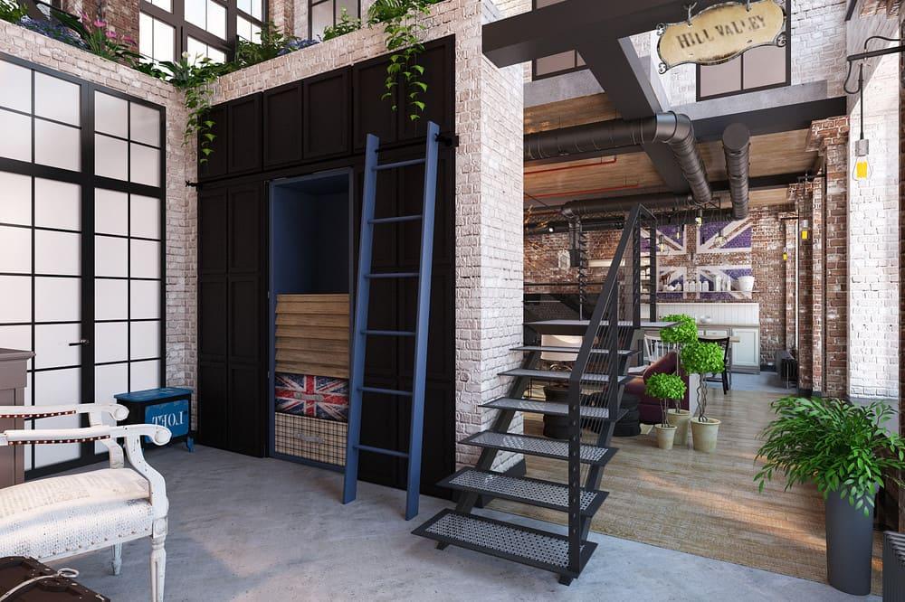 La brique sur les murs de style loft joue un rôle clé, elle est utilisée dans presque toutes les applications possibles