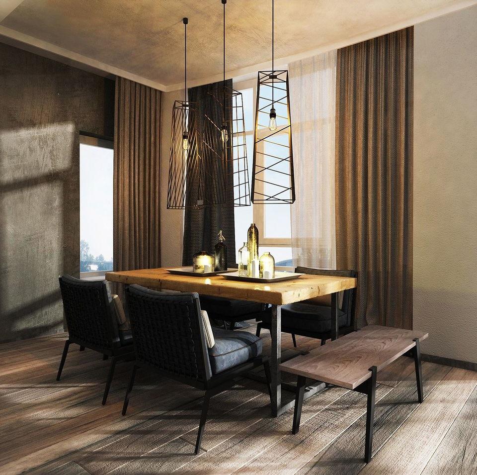 Salle à manger de style loft simple et confortable
