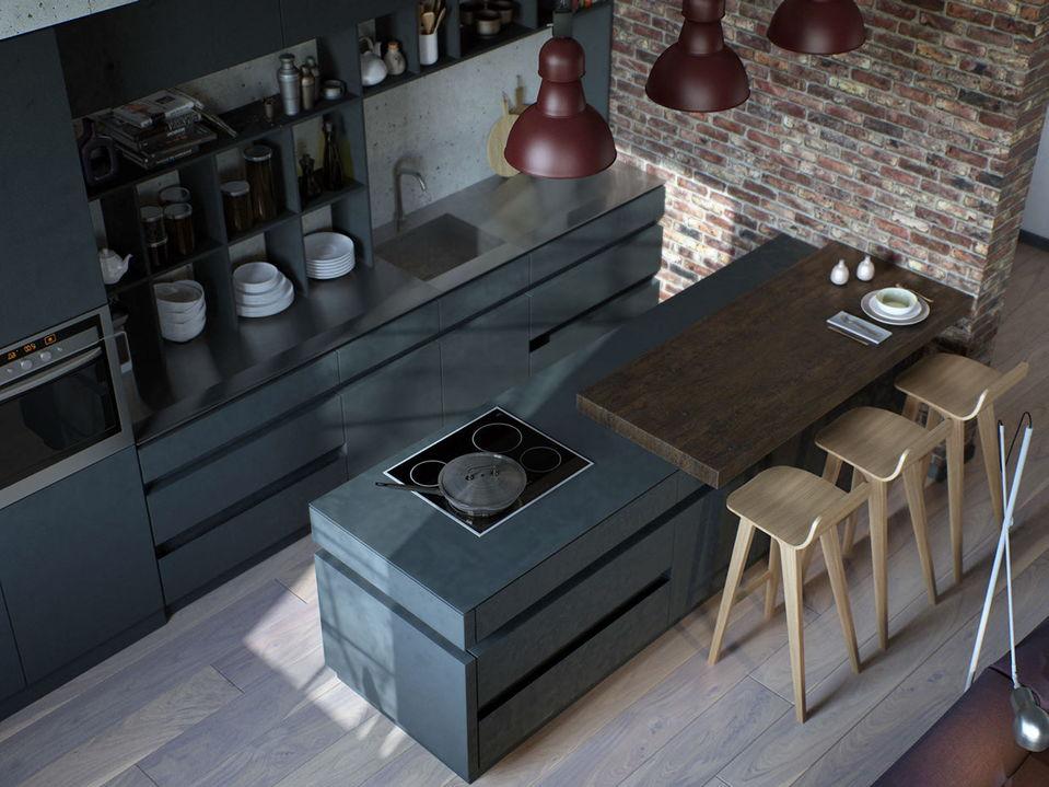 Une cloison en brique soulignera favorablement le design d'une cuisine moderne