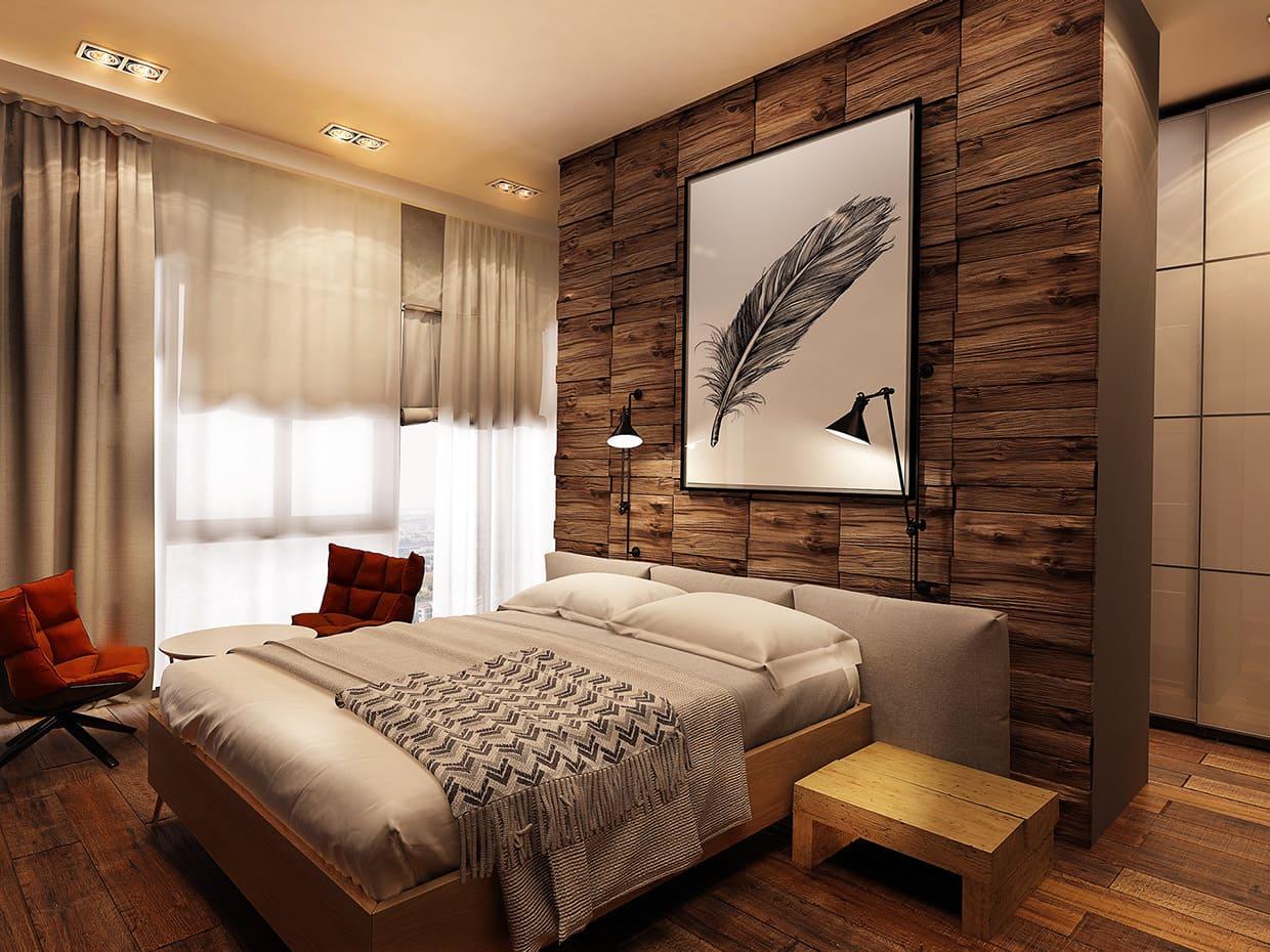 Une solution intéressante à l'utilisation du bois naturel à l'intérieur de la chambre
