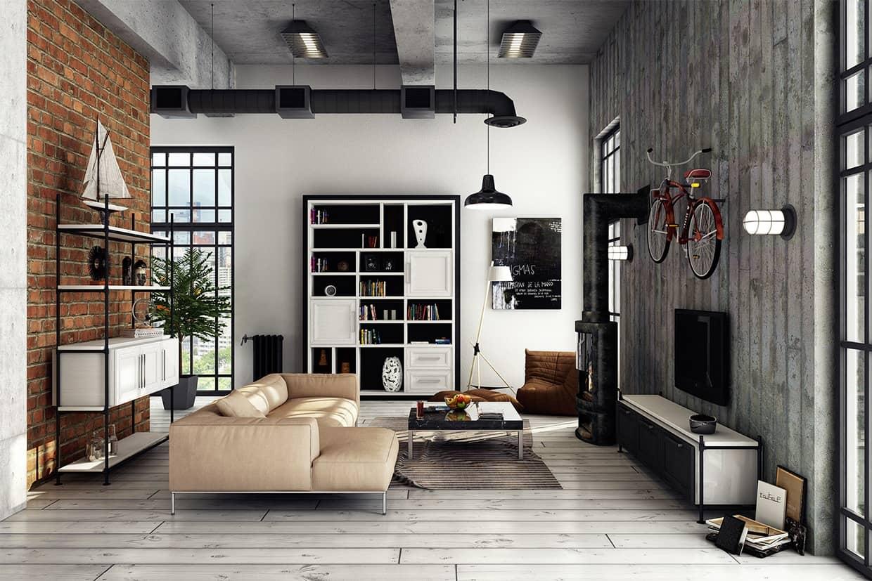 Salon spectaculaire et très expressif avec parquet blanc