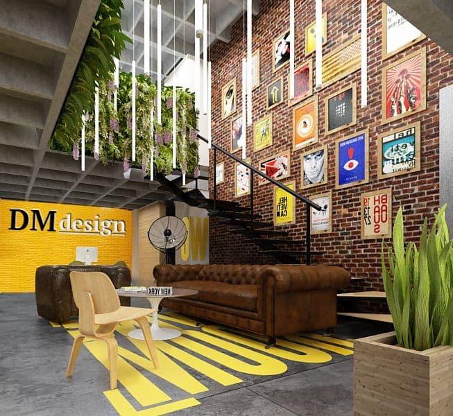 La conception inhabituelle du lieu de travail dans un design lumineux séduira les personnes créatives.
