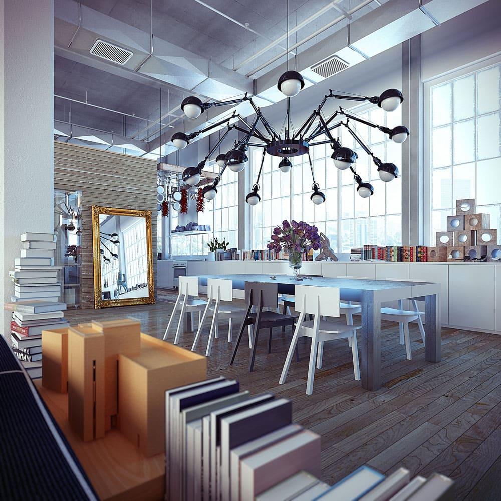 Le grand lustre noir en forme d'araignée sera un ajout intéressant au design industriel aux notes futuristes et hi-tech.