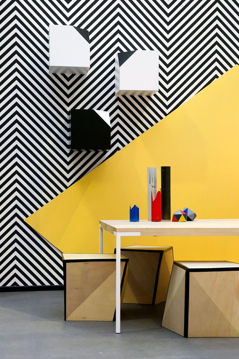 Idées d'aménagement d'une chambre fraîche en jaune et noir et blanc
