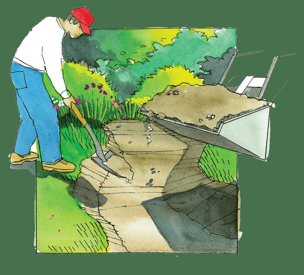 ruisseau sec avec leurs propres mains creusant un fossé