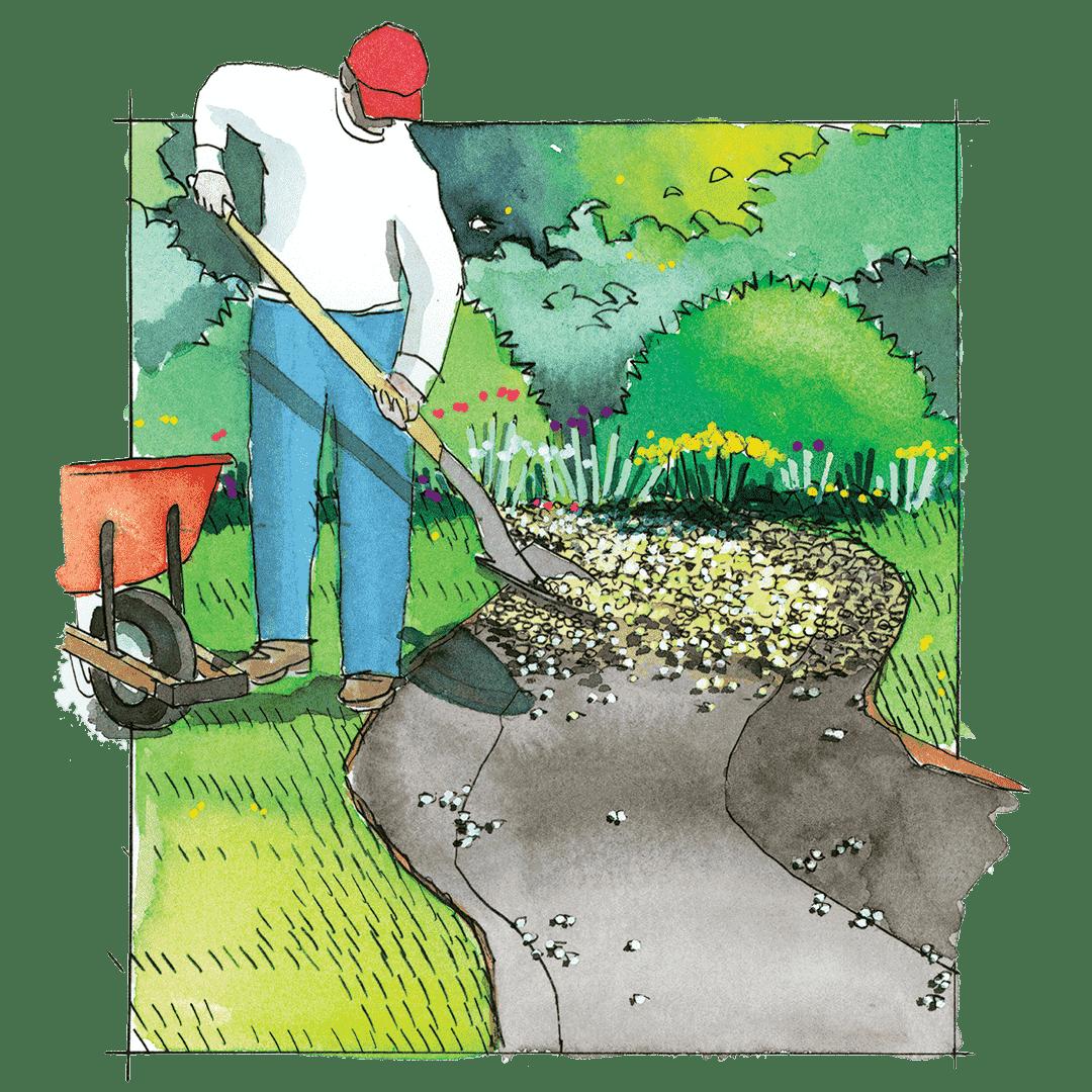 Préparation de la base sous le ruisseau sec