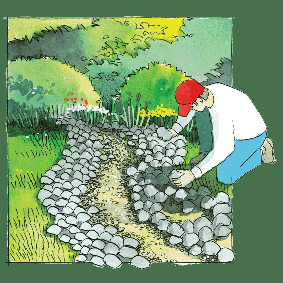 Pose de pierres dans une tranchée