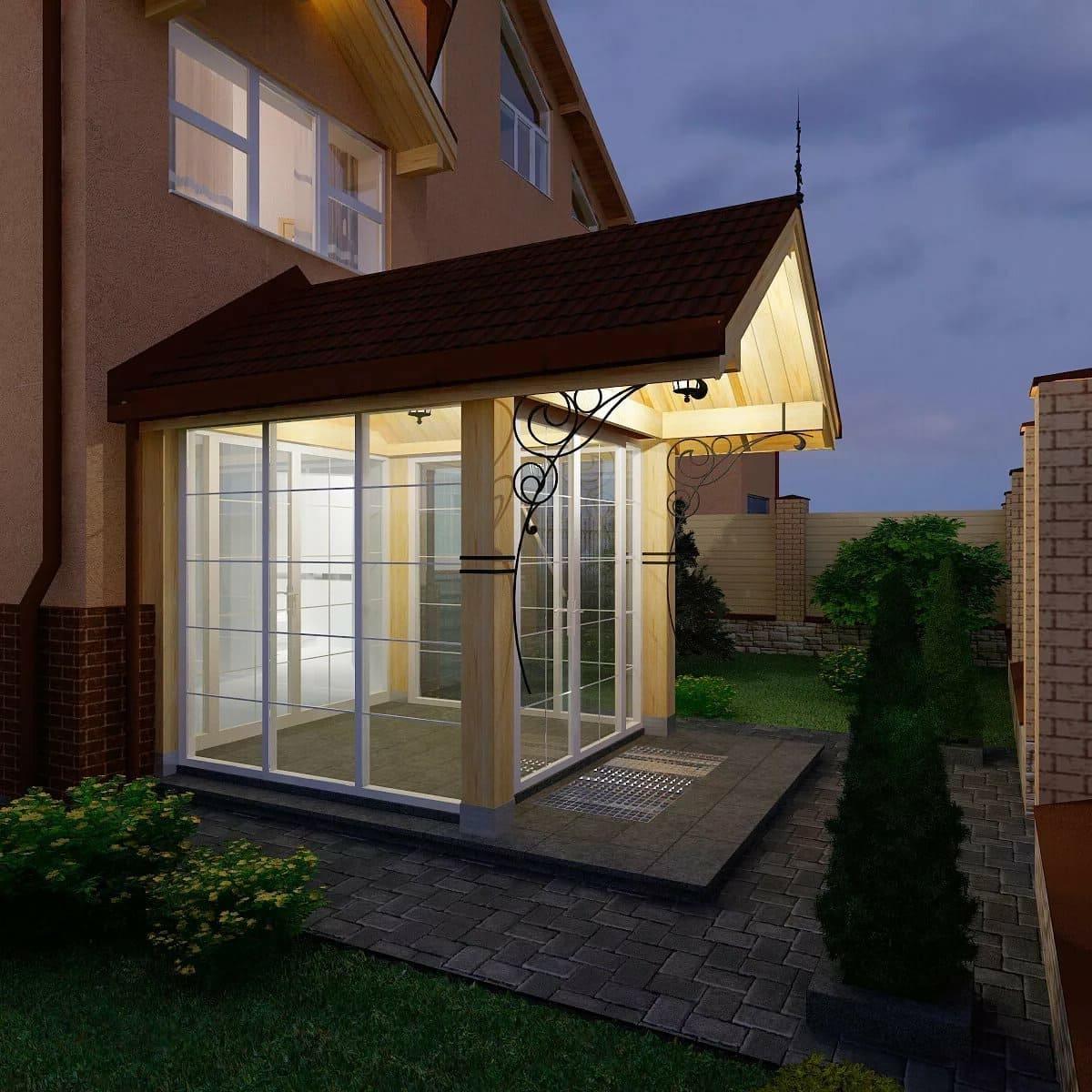 Важно предусмотреть и оснастить вход в дом ненавязчивым освещением