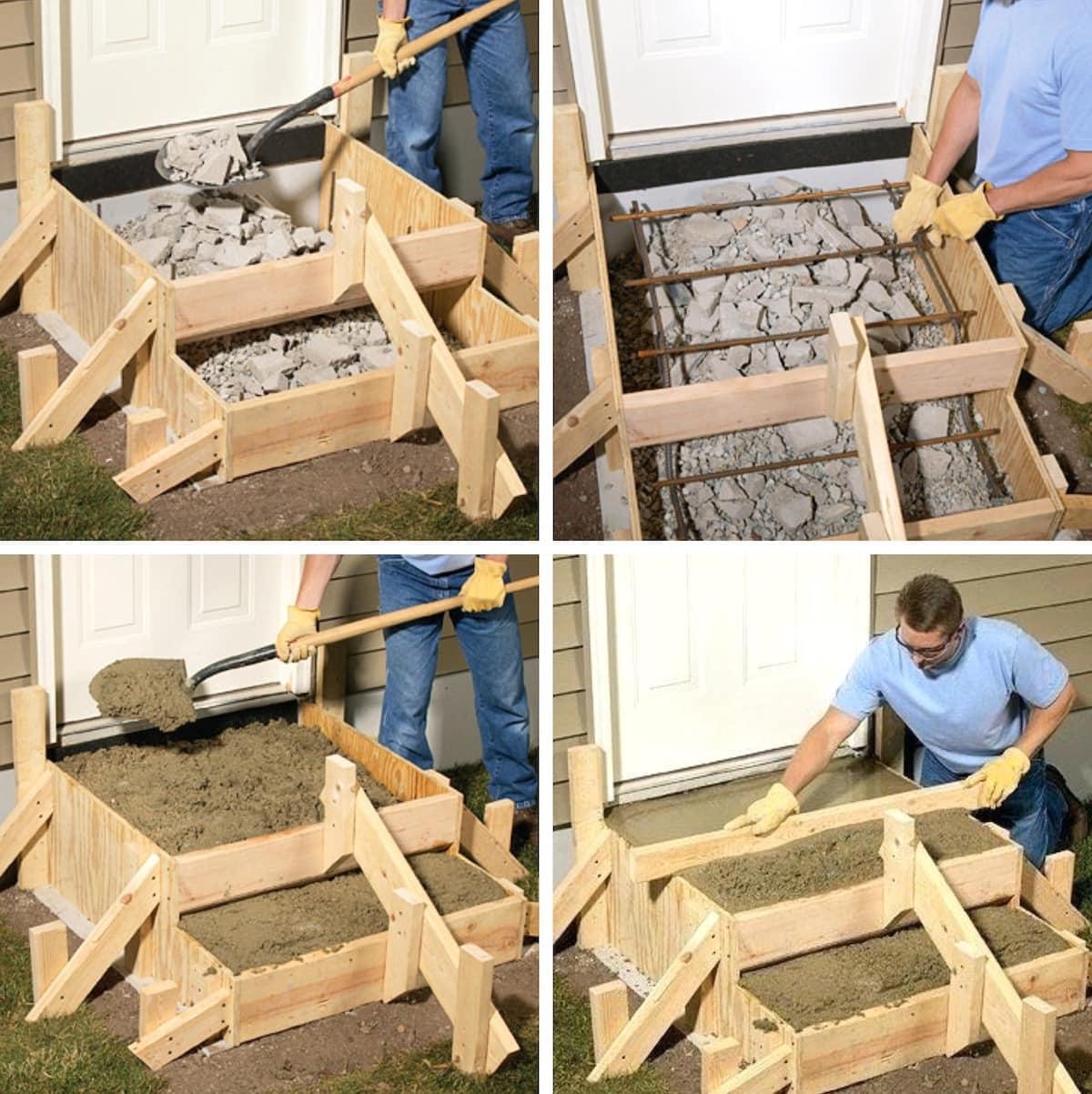 Для экономии бетона, основание ступенек можно заполнить битым камнем или кирпичом