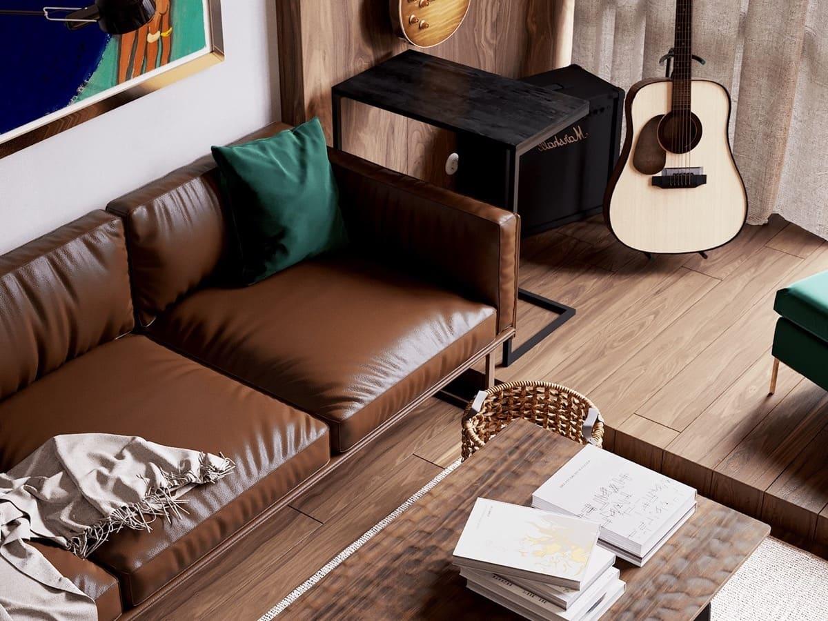 Большой кожаный диван в коричневом цвете идеально подойдет для брутального мужского интерьера