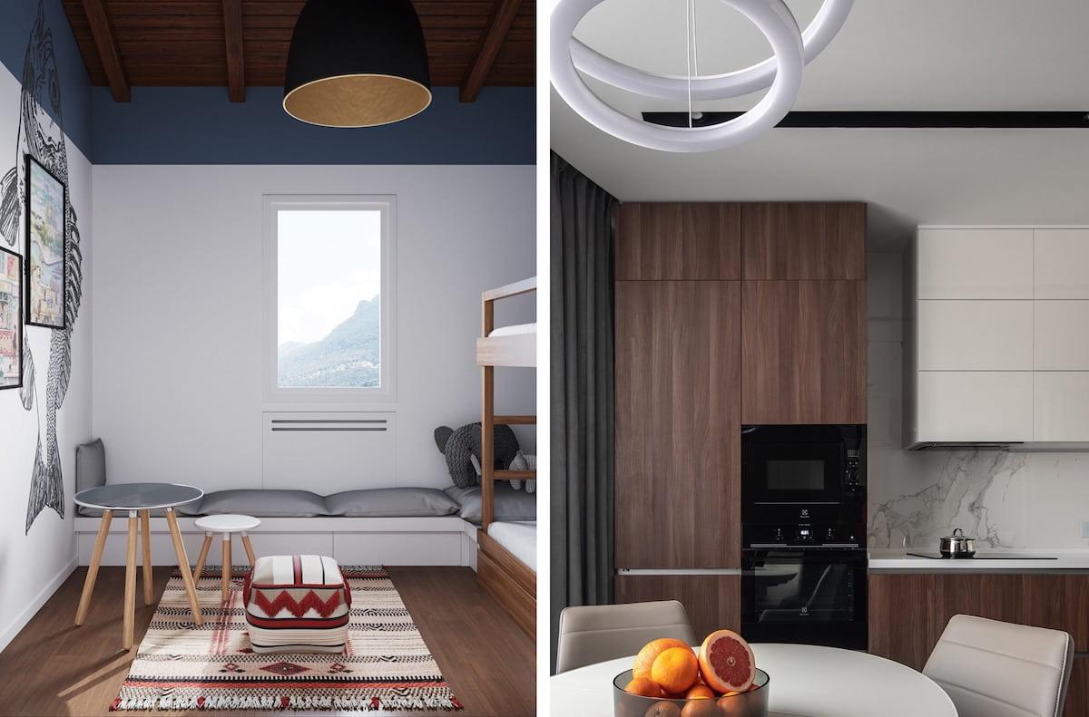 Красивая люстра с необычным дизайном хорошо будет смотреться на любом потолке, вне зависимости из чего он изготовлен, из дерева или плит гипсокартона
