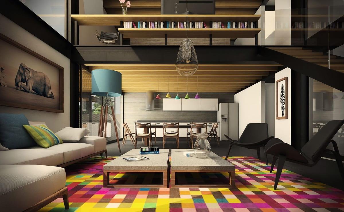 Гостиная с высокими потолками и эксклюзивной мебелью