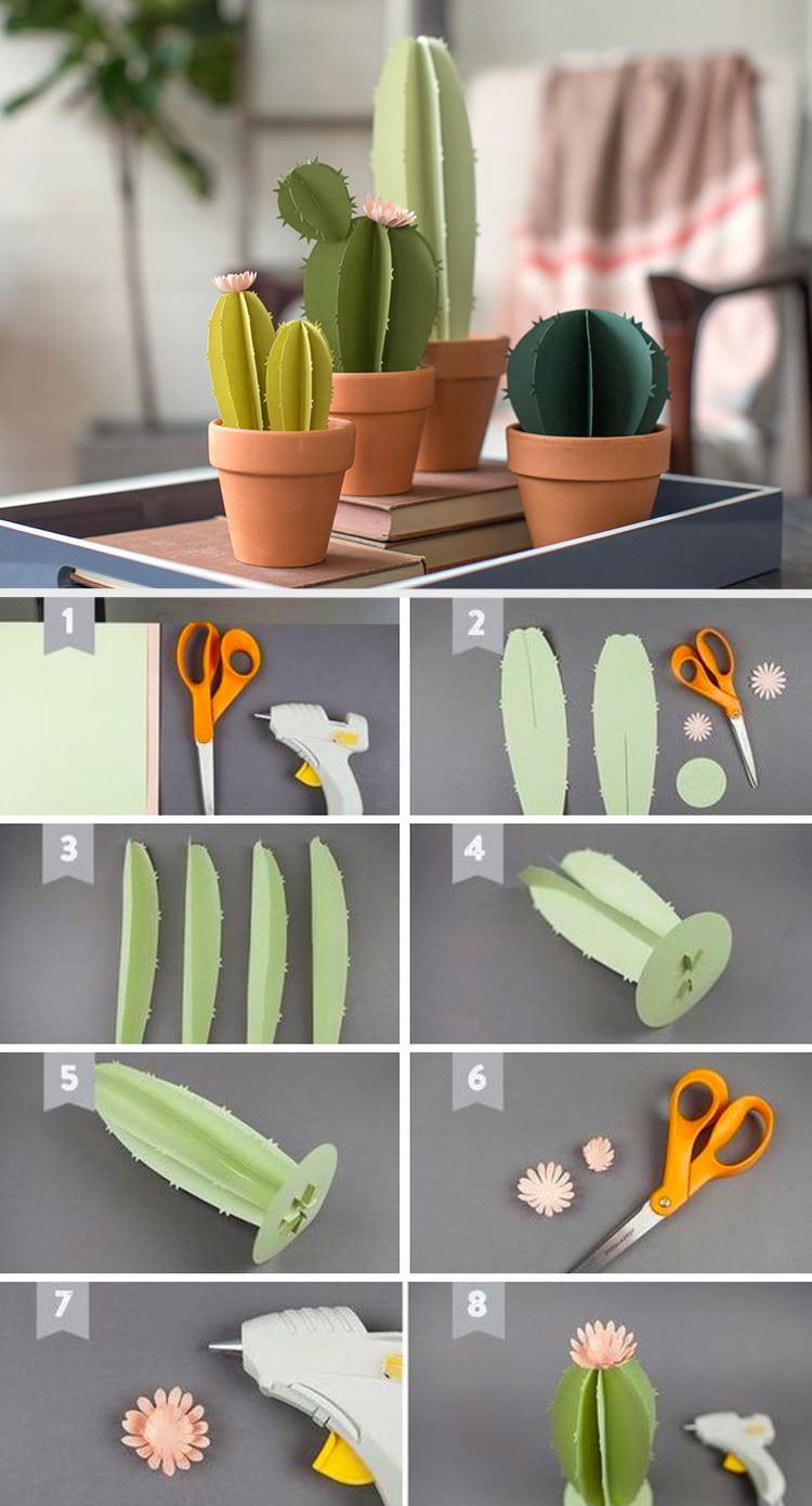 Бумажный кактус часто применяться для украшения интерьера
