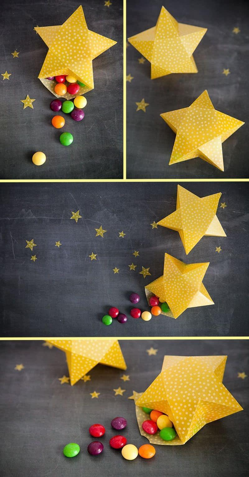 Сладкий подарок в виде бумажной звезды