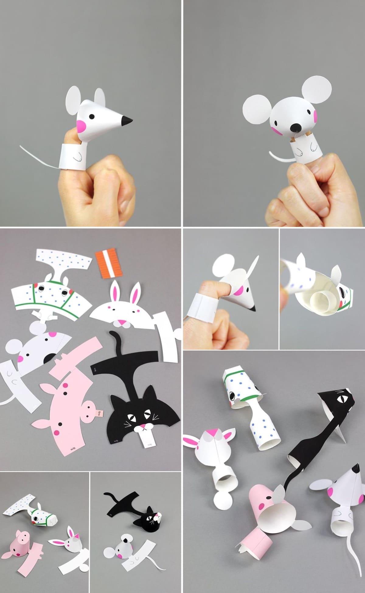 Интересные бумажные игрушки для малышей, одевающиеся на пальцы