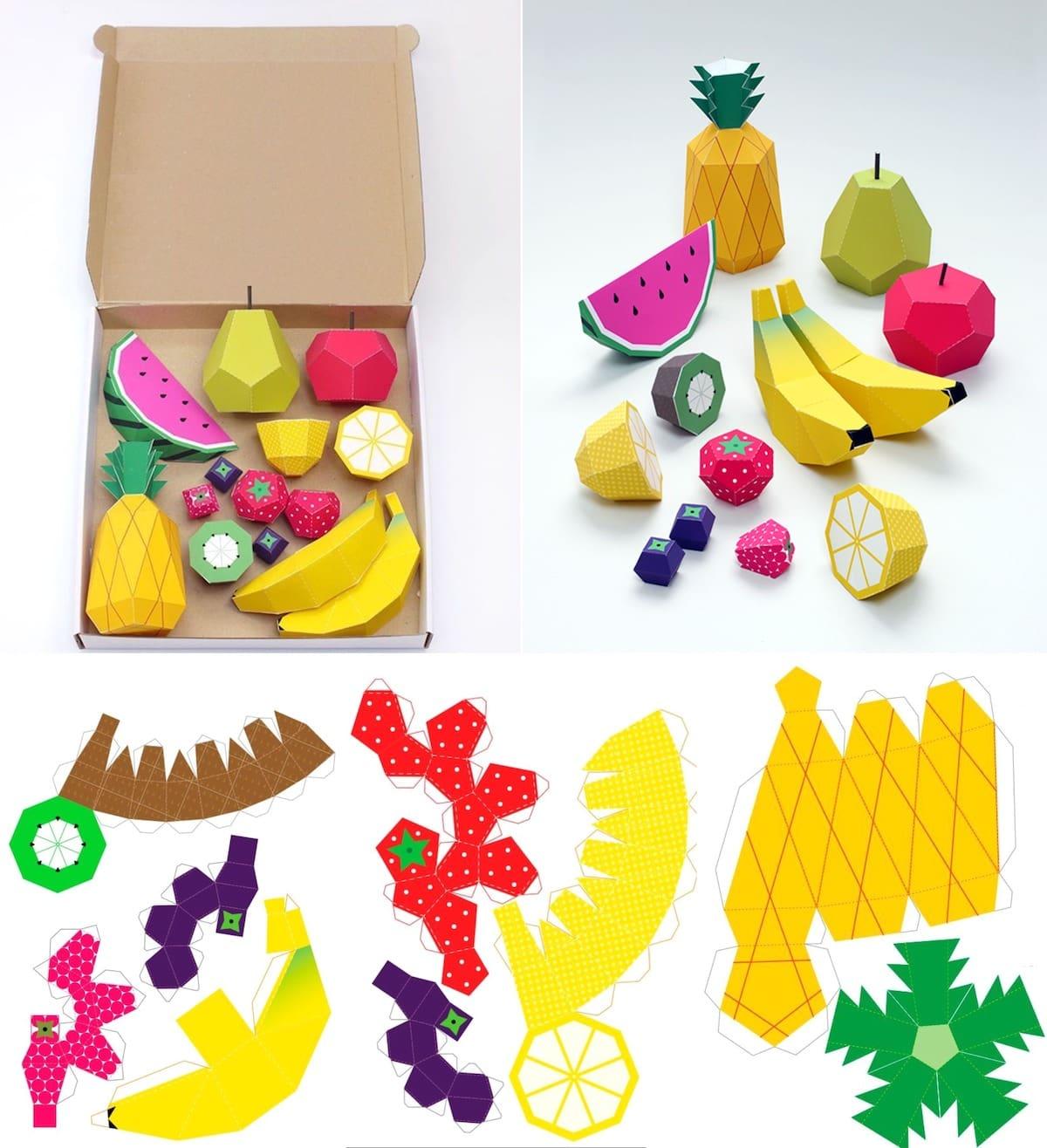 На фото показано как делать объемные фрукты из цветной бумаги