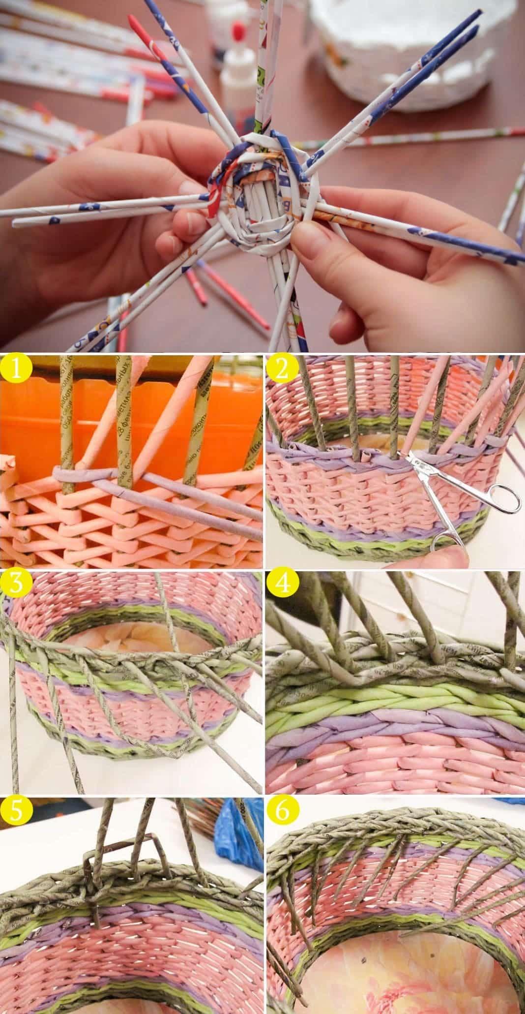 Плетение корзинки из газетных трубочек (пошагово)