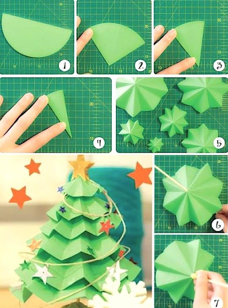 Изготовить самостоятельно бумажную елочку смогут даже маленькие дети