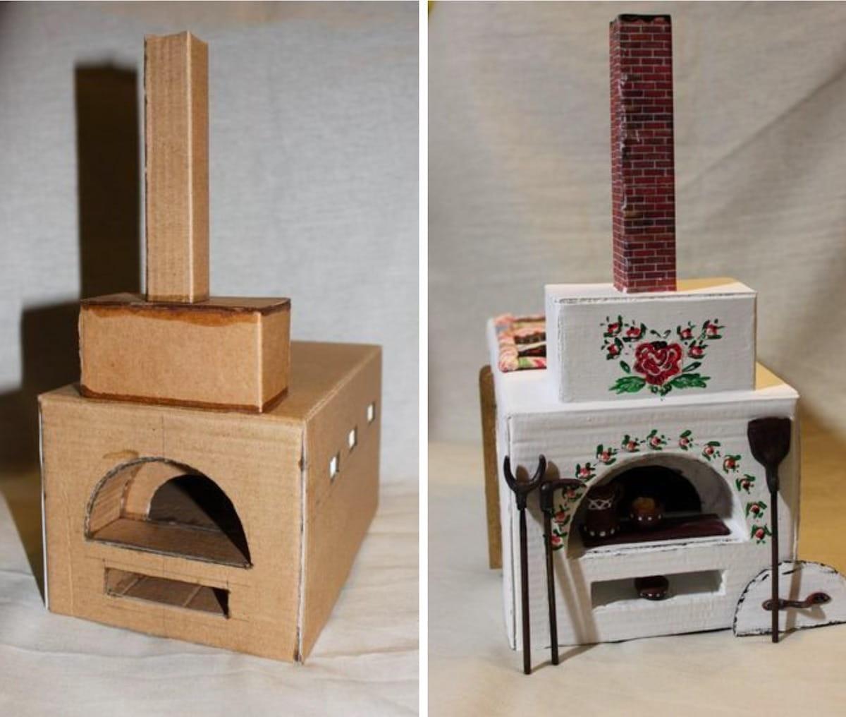 Русская печь из картона с ручной раскраской
