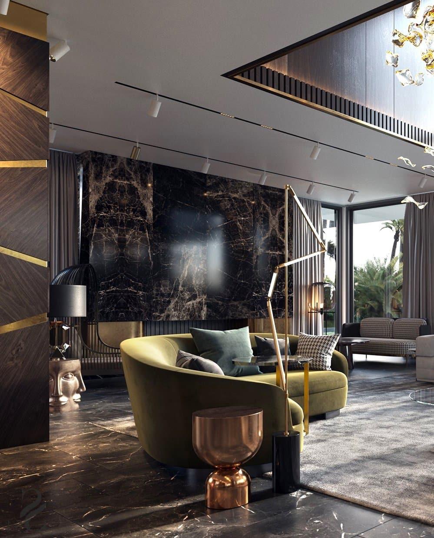 Les carreaux de sol imitant le marbre rendent l'intérieur plus concis.