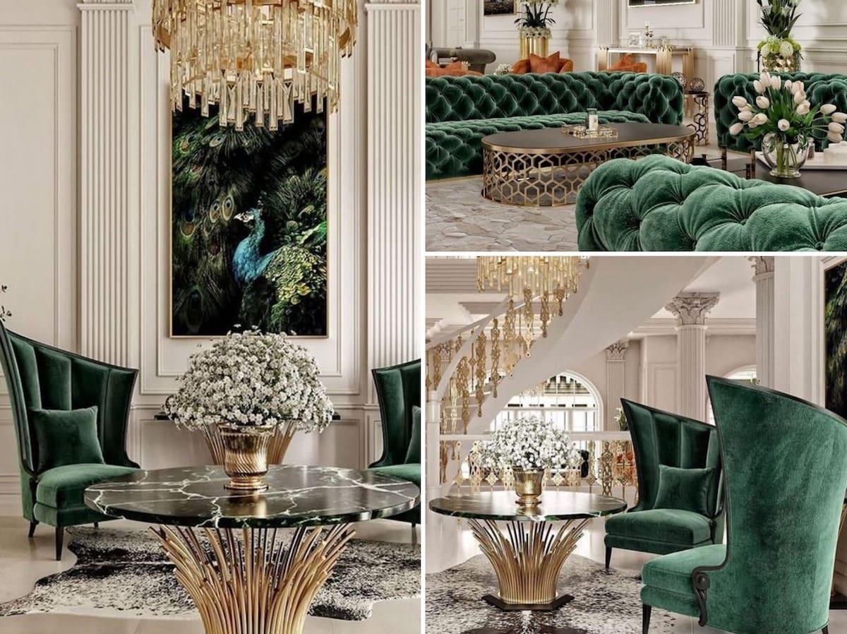 La couleur profonde des meubles rembourrés de velours confère une atmosphère particulière à l'espace environnant.