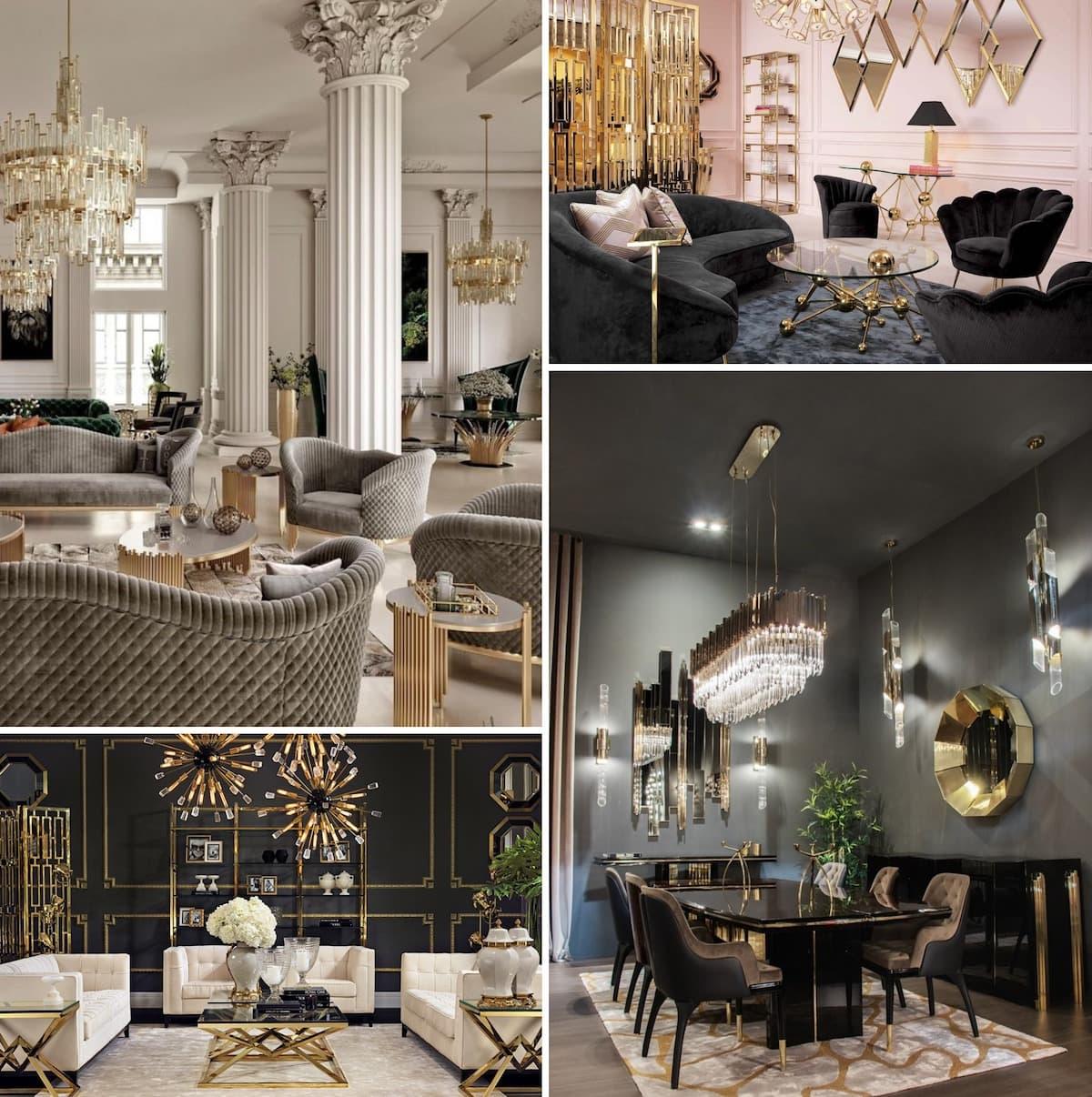 Les idées pour décorer le salon dans le style art déco sont illimitées, l'essentiel étant de ne pas briser la fine ligne entre le luxe et le sens des proportions.