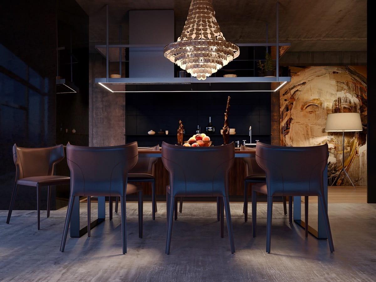 Une cuisine-salon élégante et chaleureuse à l'atmosphère apaisante et tranquille