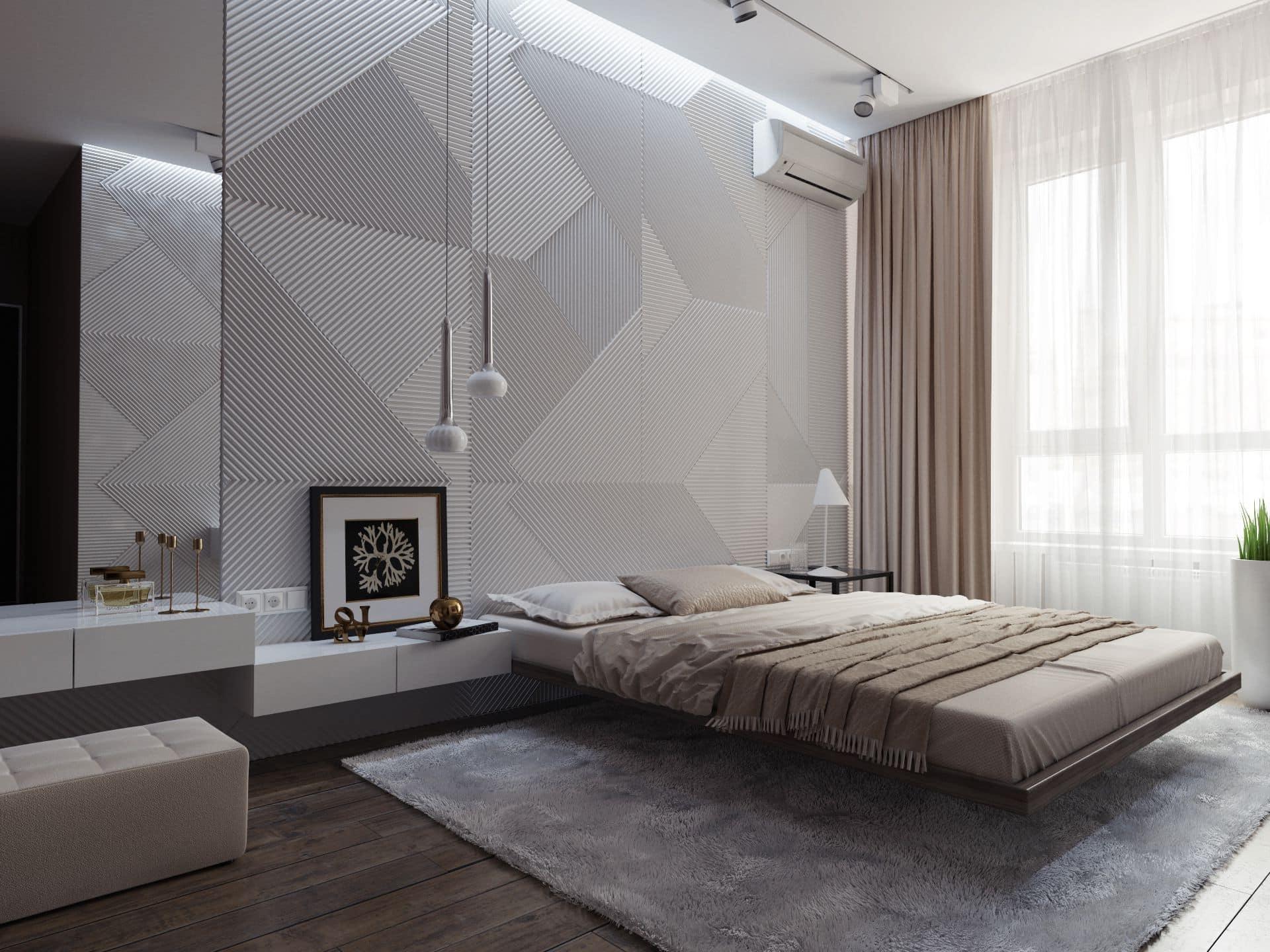 Un lit qui semble flotter dans l'air est élégant et inhabituel.