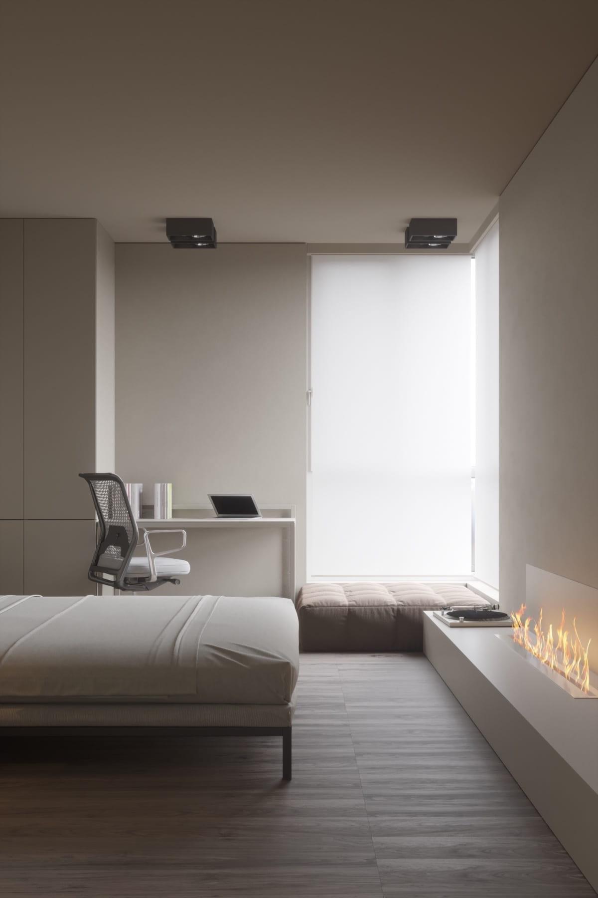 chambre à coucher style minimalisme