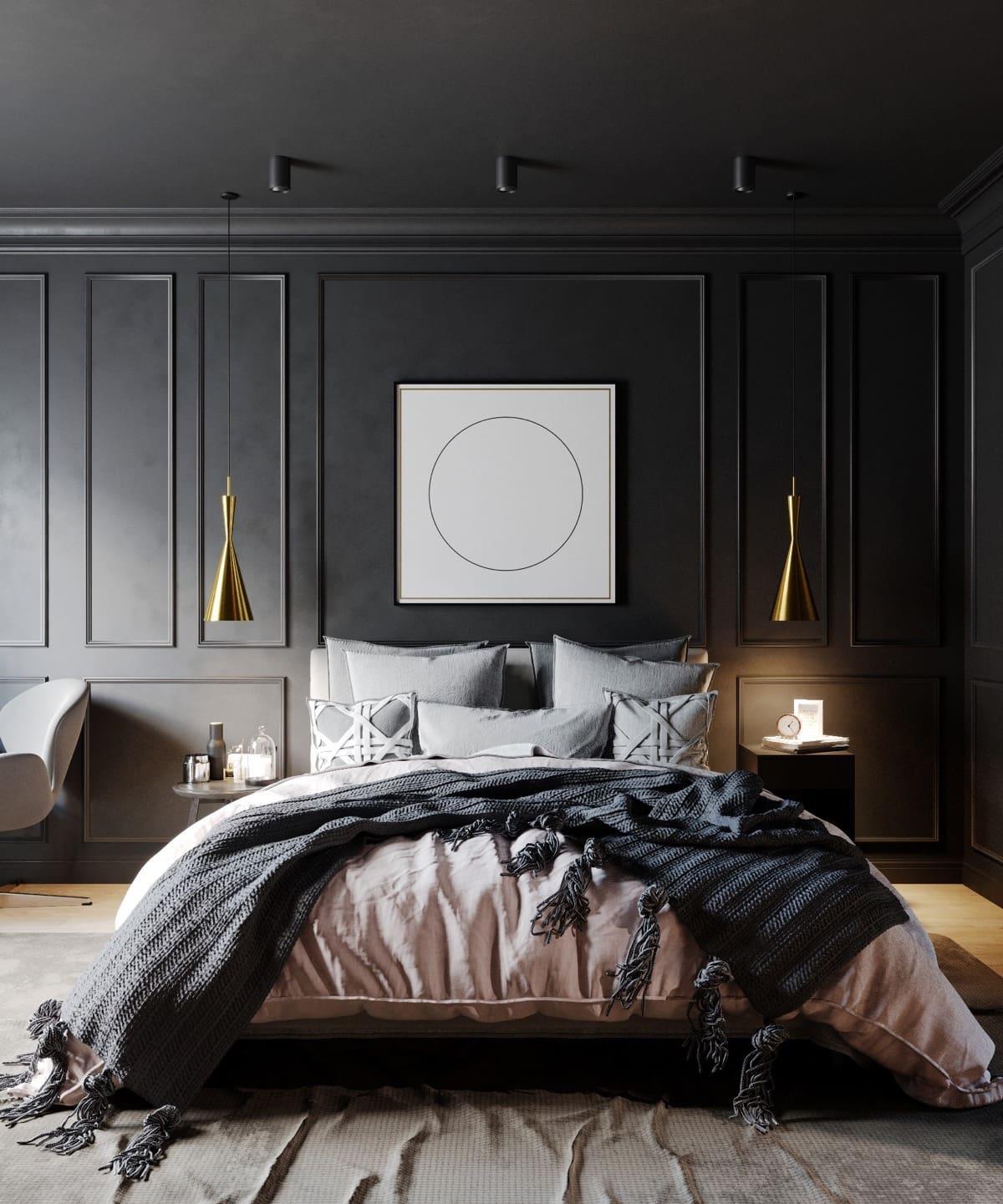 Cette photo sera une bonne aide pour créer un intérieur de chambre à coucher élégant et branché 2021.