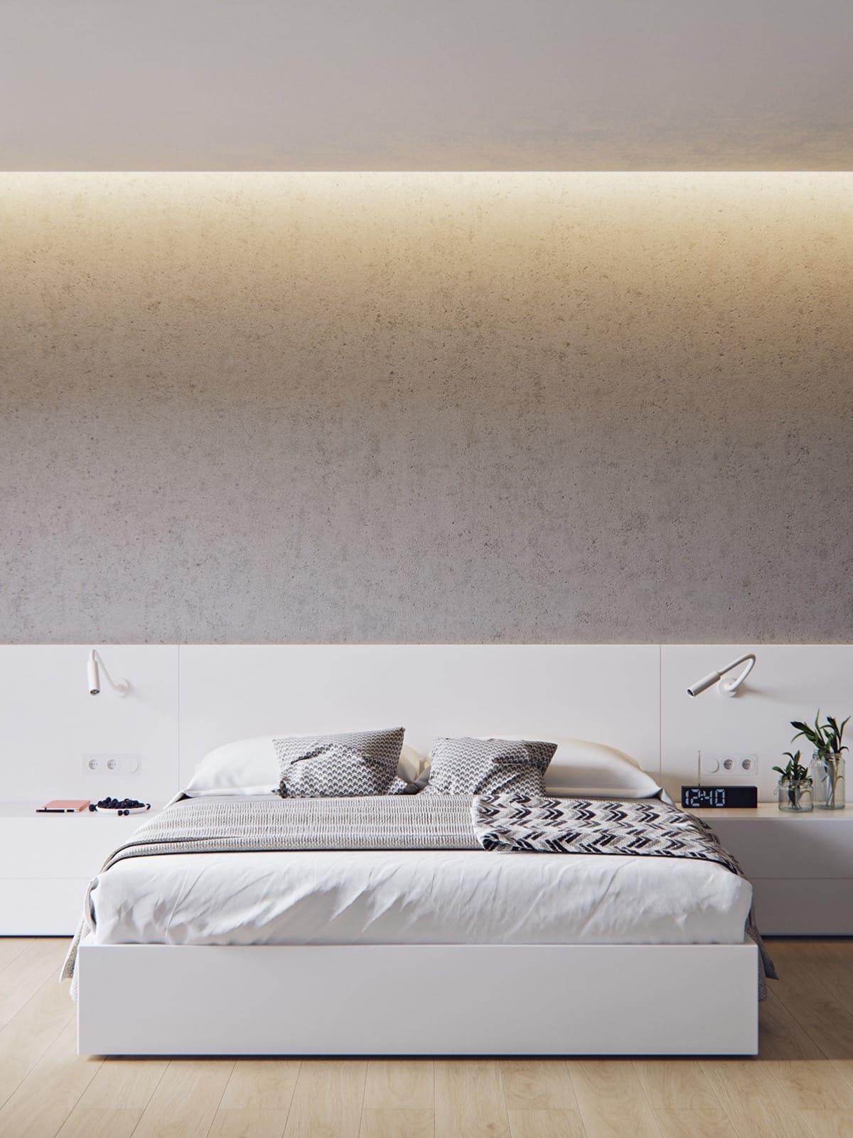 Les couleurs de base d'une chambre à coucher minimaliste sont le blanc, le noir et le gris.