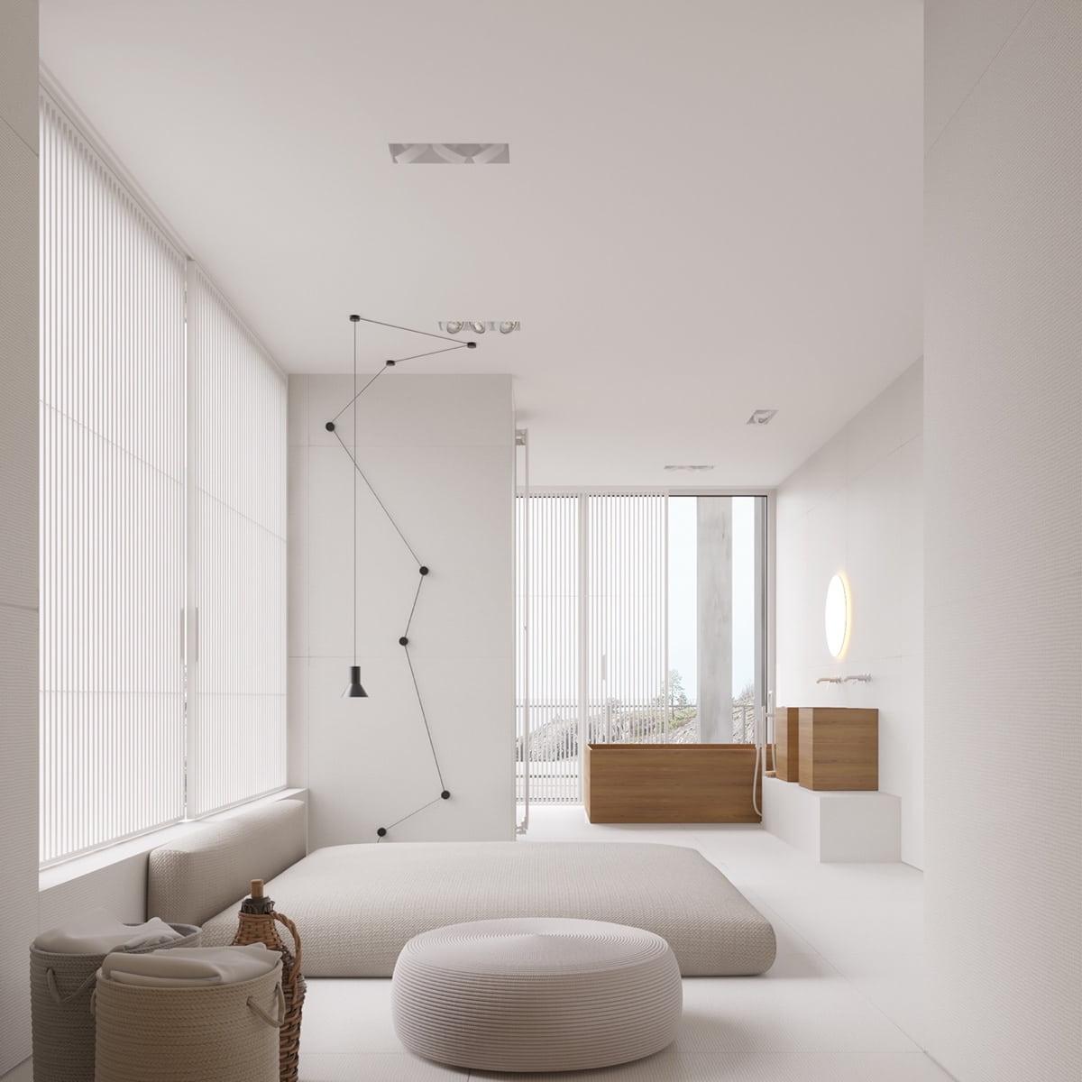 Chambre à coucher minimaliste et raffinée aux couleurs neutres