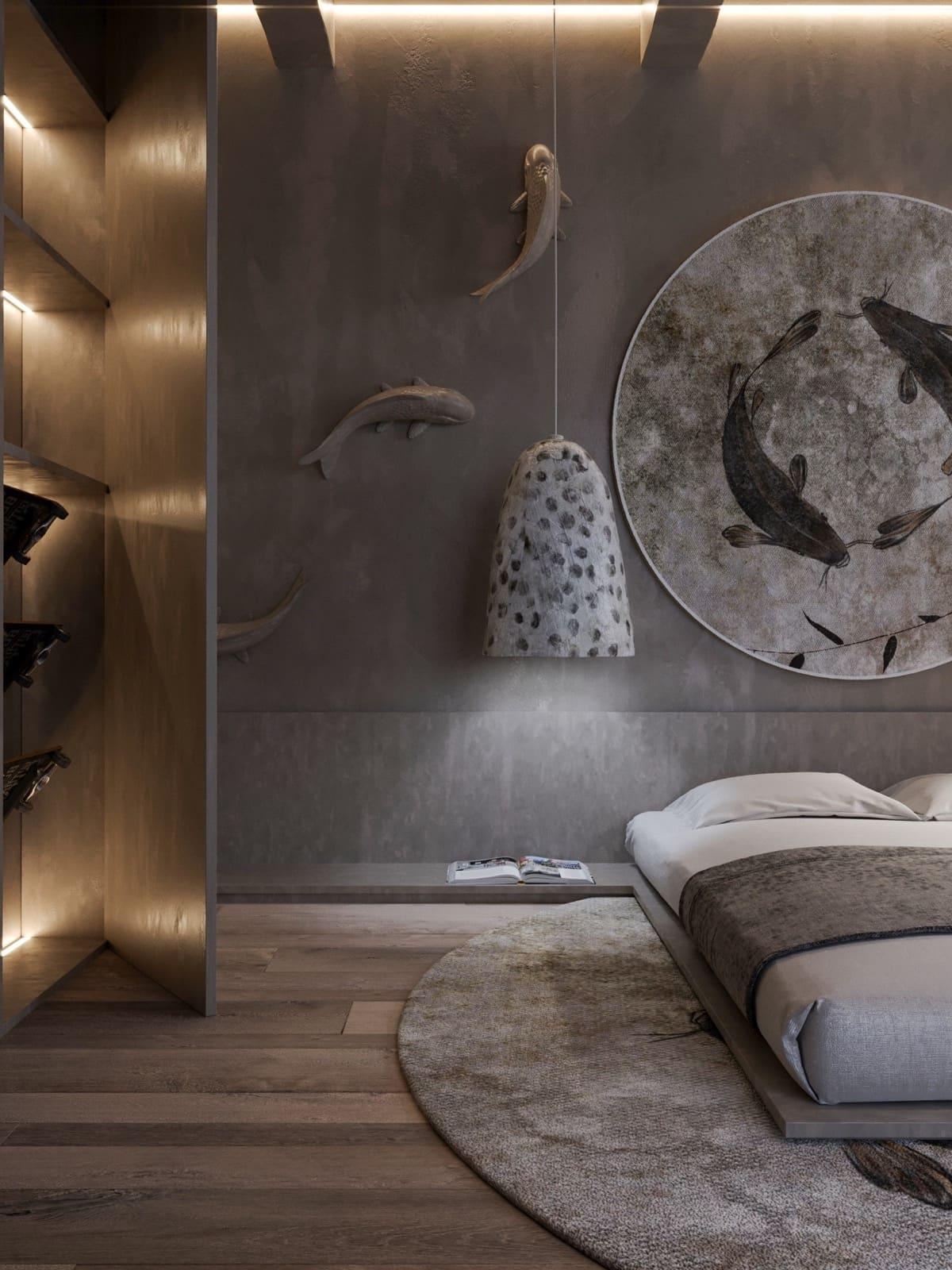 Décoration murale design en vrac - intérieurs de chambre à coucher tendance